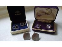 Cufflinks - 3 pairs Stainless Steel, including presentation boxes.