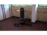 Rowing machine, bench and dumbbells