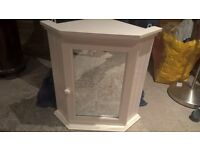 Pair of White Bathroom corner cabinets : 1 with mirror