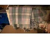 brand new light blue and pink checked scarf