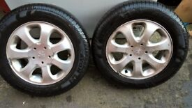 Alloy wheels X4. Good condition. 2 with Avon tyres 4mm tread
