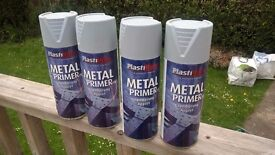 Plastikote Grey Metal Primer Spray Paint 4 Full Cans