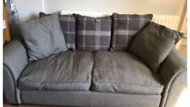 Grey 2 seater fabric sofa
