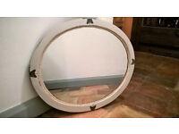 Victorian oak oval mirror - shabby chic