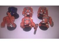 WARHAMMER 40K SPACE MARINE TERMINATORS METAL PAINTED GOOD CONDITION X 6