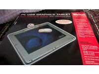 Tevion usb pc graphics pad with cordless mouse and drawing pen unused with all paper work