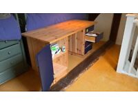 Pine desk and storage below