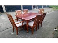 DARK WOOD DINING TABLE AND 6 CHAIRS (2 ARE CARVERS) FREE LOCAL DELIVERY