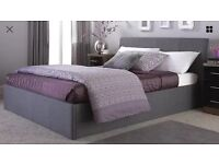DOUBLE OTTOMAN BEDFRAME AND HEADBOARD - GREY FABRIC - UNOPENED