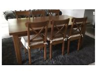 IKEA solid pine wooden dining Table and 6 Ingolf Chairs VGC!