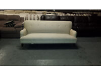Ex-display Howard natural fabric sprung back 3 seater grand sofa