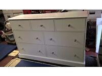 large white chest of drawers 3+4 real wood, pine, painted silk white.