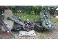 Fishing umbrellas, seats, cool bags, sleeping bag and other bits