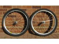 Mavic Crossride wheelset (front and rear pair) 26 inch with tires and inner tubes, disc & rim brake