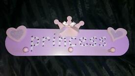 GIRLS PRINCESS BEDROOM PEG HANGER