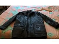 large heavy duty leather mens long coat/jacket top quality for sale
