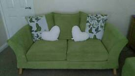 Lime Green DFS sofa and storage footstool