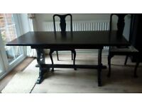 Solid wood dining table 168(l)x76(w) and four chairs. Selling due to move.