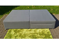 Ex-display Benson Beds Grey King Size Divan Bed Base with Two Storage Drawers.