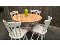 Rustic Farmhouse style table with 4 chairs all hand painted and varnished