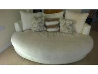White Leather and Fabric Cuddle Sofa