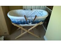 Mothercare moses basket, stand and bedding