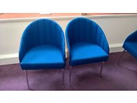 9 X ROYAL BLUE FABRIC WOOD CHROME TUB HOME-OFFICE RECEPTION MEETING ROOM CHAIRS