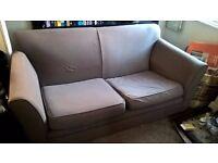 Brown Fabric Two Seater Sofa x2, Brown Corner Sofa Unit x1