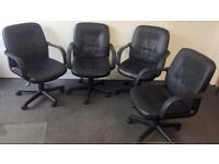 4 Adjustable Black Leather Office Chairs