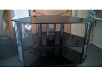 BLACK GLASS and CHROME TV STAND Price REDUCED!!