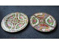 two decorated orinental plates