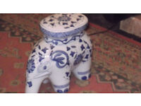 """BLUE AND WHITE ELEPHANT 18"""" LONG AND HIGH APPROX"""