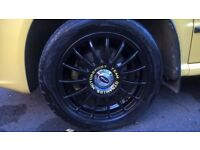 """For sale Team dynamic alloy wheels 5 X 100 fits VW SKODA AUDI SEAT 5 stud black 15"""" with tyres"""