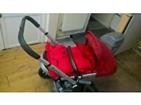 Quinny pram red with footmuff and rain cover