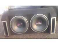 audiobahn car music system Comes with 2 audiobahn subs, 2 amplifiers and 2 speakers.
