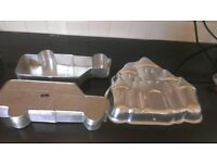 car and castle shape cake tins