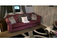 DFS, pink, 3 seater sofa, 2 seater sofa bed, footstool with storage, excellent condition.