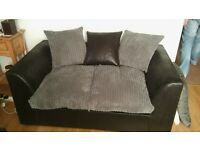 black and grey fabric sofa suite