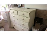 Lovely Victorian vintage chest of drawers, painted with farrow and ball off white
