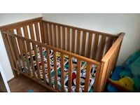 Mothercare Jamestown cot bed with mattress.