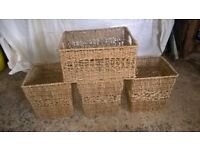 Wicker containers and magazine rack