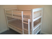 Modern White BUNK BED - Barcelona Style Solid Pine Frame and Slats - For Kids or Adults