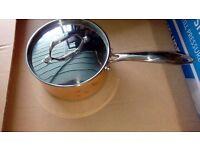 Cook's Collection 18cm Copper Tri-Ply Saucepan