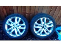 2 x 17 alloys both have good tyres 225 45 17 for vauxhall ford jaguar ect