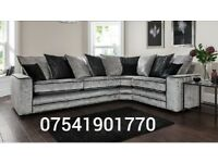 Free delivery Riva silver crushed velvet brand new corner sofa