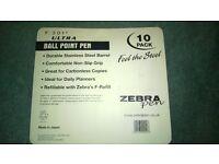 zebra 10 pack brand new ballpoint pens