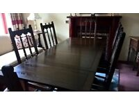 Ercol Extendable Dining Room Table and Six Chairs