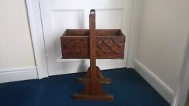 Vintage Retro Wooden Cantilever 3 Tier Craft Sewing Box - great side table or to display plants