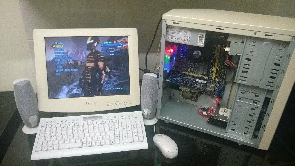 fast custom built retro themed windows 10 gaming pc with nvidia gt 440  pci-e graphics, wifi, monitor | in Walsall, West Midlands | Gumtree