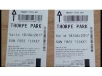2 Thorpe park tickets for Sunday 18/06/2017 Treat your dad on Father's Day